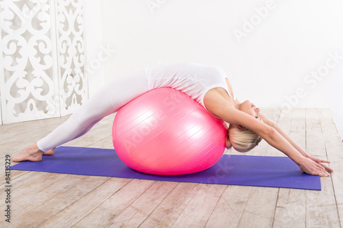Fitness concept with young sporty woman Plakát