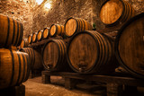 cellar with barrels for storage of wine, Italy - Fine Art prints