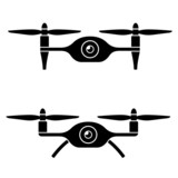 vector rc drone quadcopter with camera black symbol poster