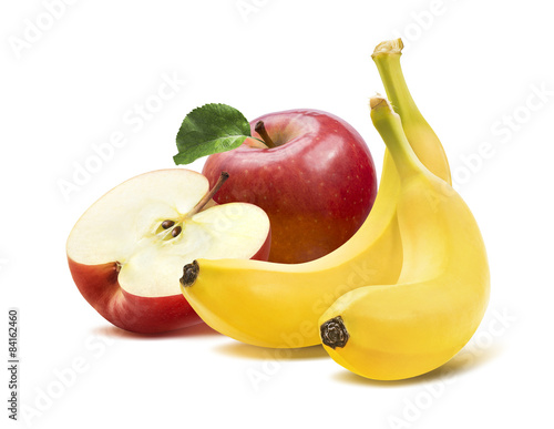 Banana and apples composition 2 isolated on white background