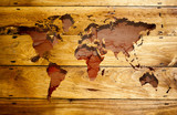 Vintage world map with wood texture. poster