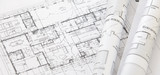 Architect rolls and architectural plan,technical project drawing - Fine Art prints