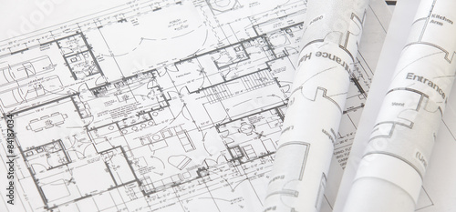 Rolki architekta i plan architektoniczny, techniczny rysunek techniczny