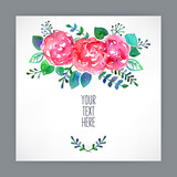 Fototapety greeting card with watercolor flowers - 3