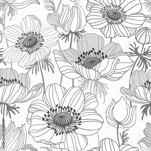 Fototapeta seamless floral pattern with anemone on white background