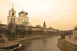 Pskov Krom. View From Pskova river. Sepia toned poster