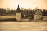 Pskov Krom from Velikaya river, sepia background poster