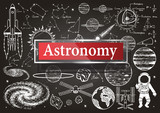Doodles about astronomy on chalkboard.