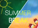 Summer break written text on green chalkboard - 84232099