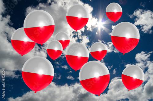 Obraz na płótnie many balloons with poland flag on sky