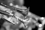 Trumpet fragment in the orchestra closeup in black and white