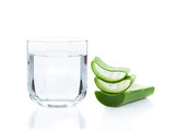 aloe vera fresh leaf and drinking water on white background - 84250006