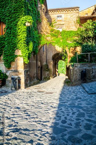 The streets of the old Italian city of Bagnoregio, Lazio
