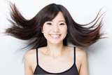 attractive asian woman haircare image poster