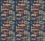 Seamless pattern of traffic. Means of transportation: bus, plane