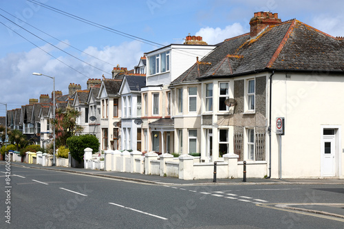 Poster English Homes.Row of Typical English Terraced Houses
