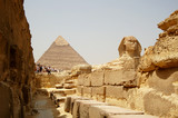 Fototapeta The Sphinx and Pyramids in Egypt, tourist view.
