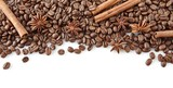 Coffee beans at the top with anise and cinnamon on white