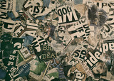 Creative Vintage Background Made of Torn Newspaper Pieces - 84273859