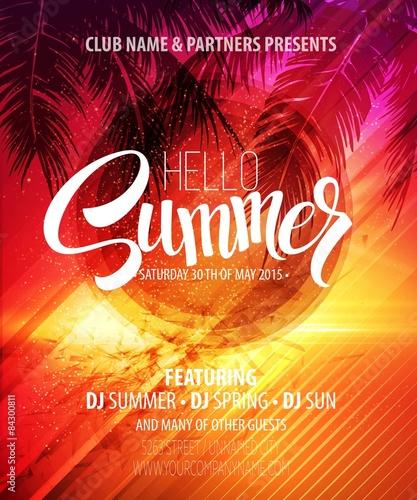 Zdjęcia na płótnie, fototapety, obrazy : Hello Summer Beach Party Flyer. Vector Design