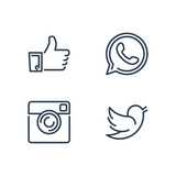 Line designed vector icons of like, handset, camera and bird