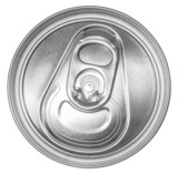 Can of soda top view. Isolated on white. Clipping path included