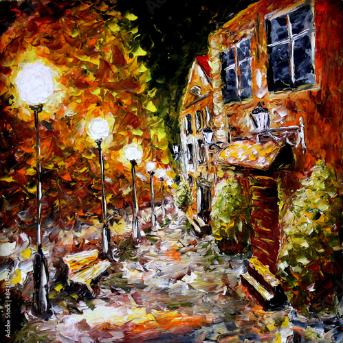 Fototapeta Night old city. Yellow building. Lamps.Oil painting.
