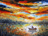 Fishing, clouds, river. sunset, painting. Spatula