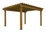 Cedar wooden pergola on the white