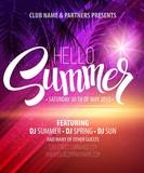 Fototapety Hello Summer Beach Party Flyer. Vector Design