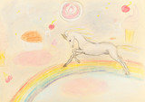 Fototapeta Fototapety na ścianę do pokoju dziecięcego - children drawing - fairy unicorn on rainbow © vvoe