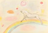 Fototapeta Child room - children drawing - fairy unicorn on rainbow © vvoe
