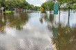 flooded roads and landscapes in Houston Texas following heavy rains