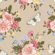 Seamless  pattern  flowers and butterflies.