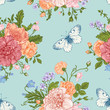 Seamless  pattern  flowers and butterflies.