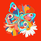 Greeting card,, butterflies on flowers
