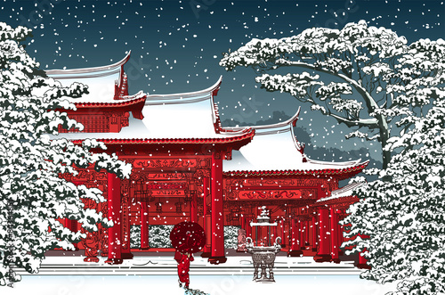 Fototapeta Japanese or chinese temple under snow