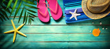 Fototapety Beach accessories on wooden - summer background