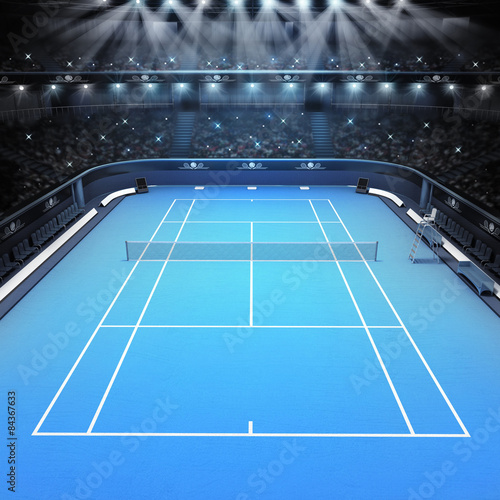 blue hard surface tennis court and stadium full of spectators