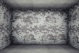 Fototapety grey room with brick walls