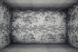 Fototapety grey room with brick walls