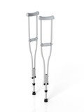 Metallic crutches isolated on white background