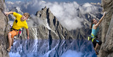 Fototapety Rock climbers in alpine landscape with blue lake