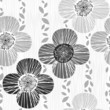 Monochrome seamless pattern with poppies.