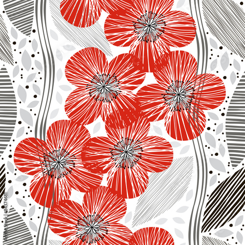 Tapeta Seamless pattern with poppies. Hand-drawn floral background.
