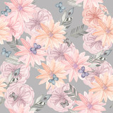 Ethnic seamless pattern. Watercolor background
