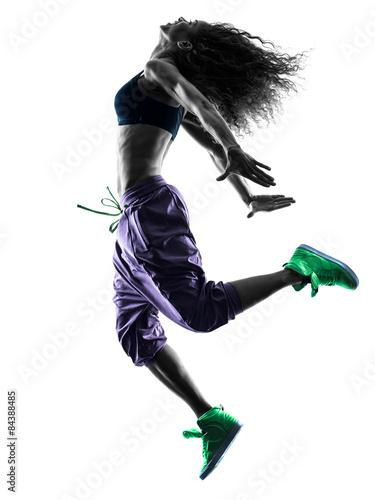 woman zumba dancer dancing exercises silhouette Poster