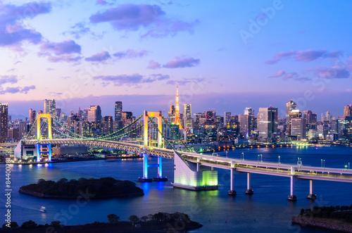 Fototapeta Evening View of Tokyo Skyline, Rainbow Bridge, and Tokyo Tower