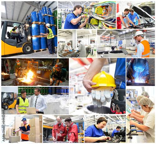 Poster Industrial geb. Collage Industrie: Arbeiter - Produktion - Fabriken - Logistik