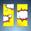 Comic book style explosion cloud banner set
